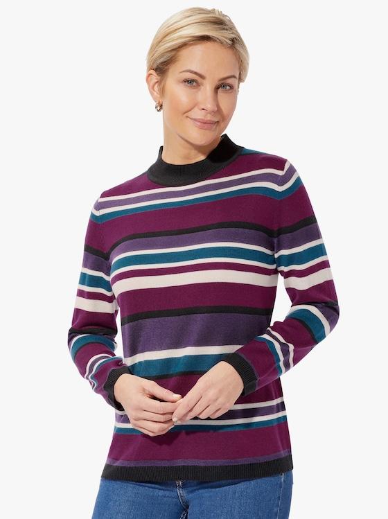 Pullover - braamrood/petrol gestreept