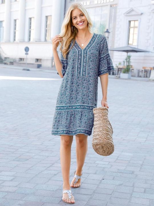 Kleid - jeansblau-ecru-bedruckt
