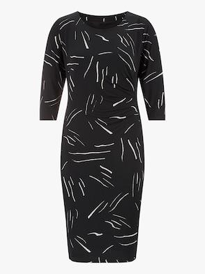 Jersey-Kleid - schwarz-ecru-bedruckt