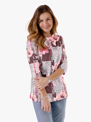 Dlouhé tričko - hortenziová-vzor