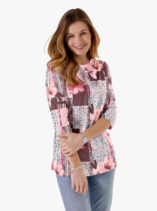 Lang shirt - hortensia gestreept