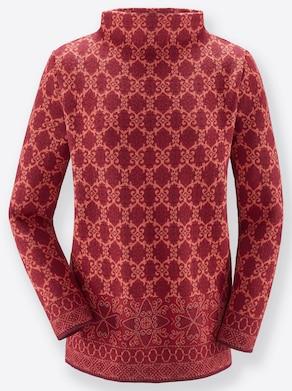 Pullover - dunkelrot-gemustert