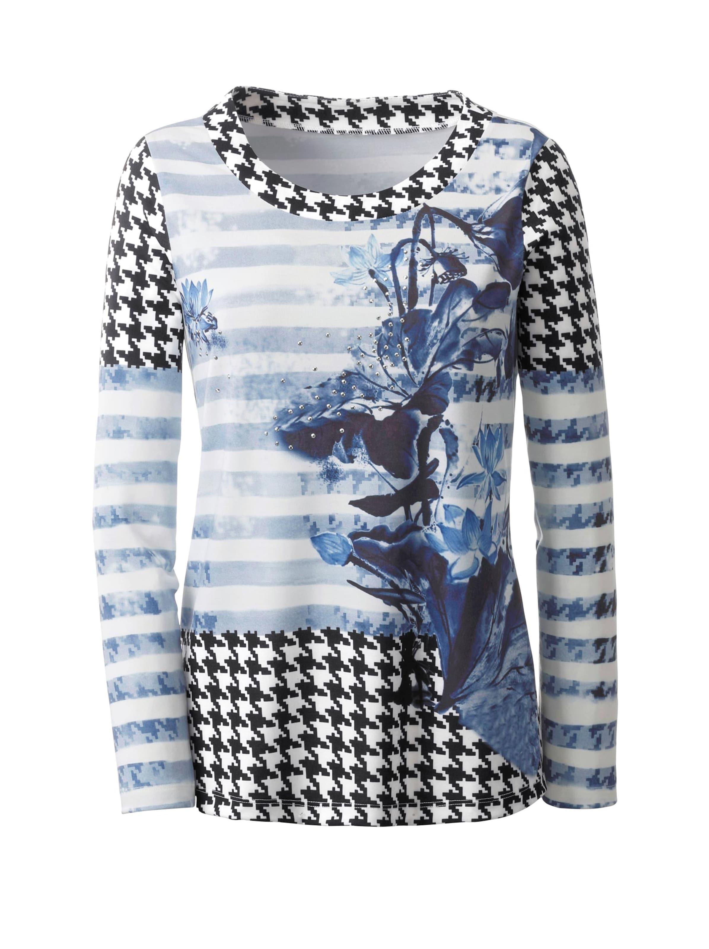 witt weiden -  Damen Shirt schwarz-blau-bedruckt