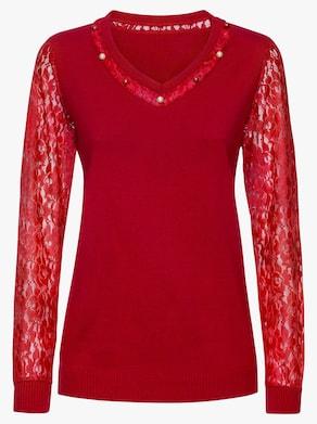 Spitzen-Pullover - rot