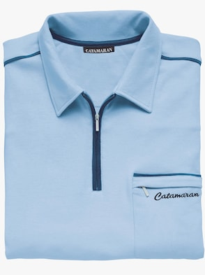 Kurzarm-Poloshirt - hellblau