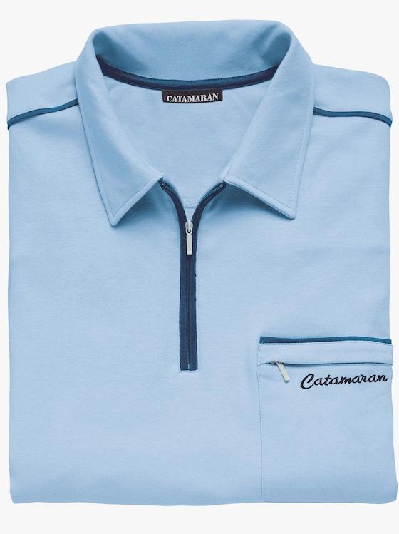 Langarm-Poloshirt - hellblau