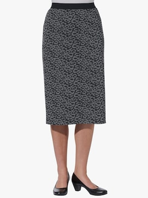 Jerseyrok - zwart/grijs luipaard