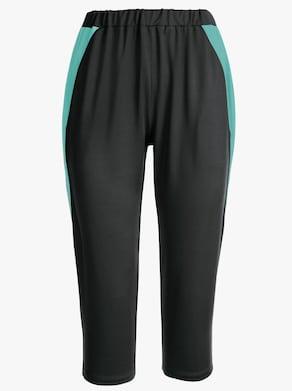 Capri-Freizeithose - schwarz-mint