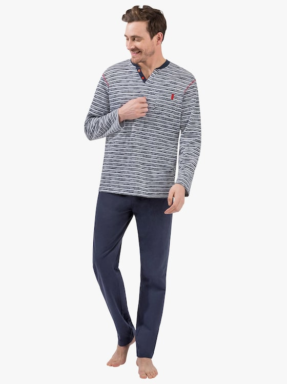 Schlafanzug - grau-meliert-marine