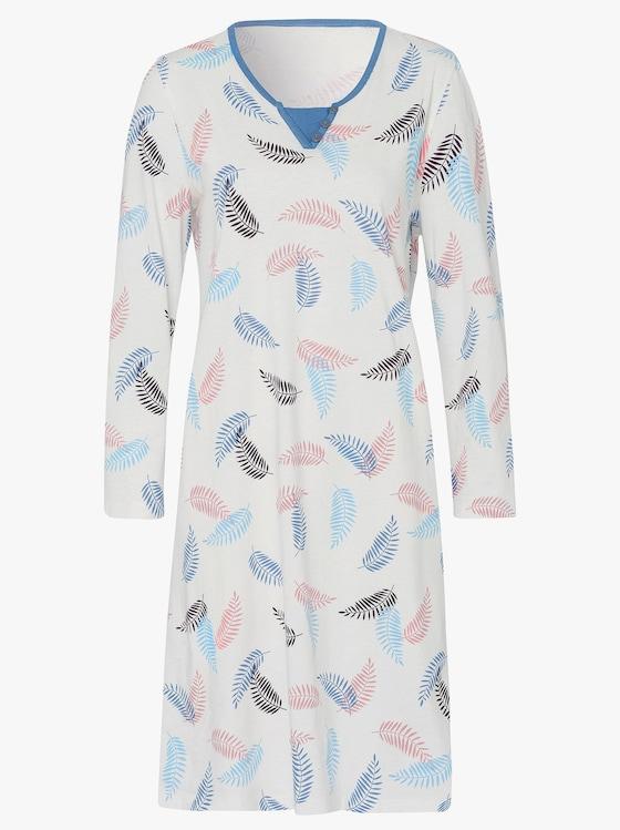 Nachthemd - weiß-blau-bedruckt