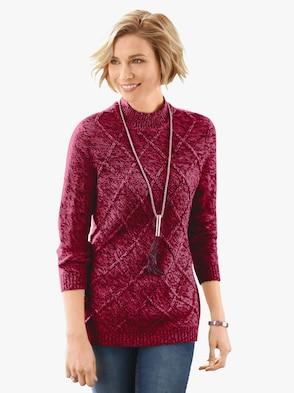 Pullover - rot-meliert