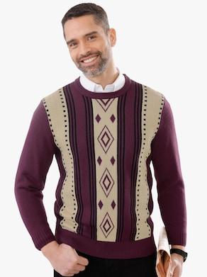 Pullover - bordeaux gedessineerd
