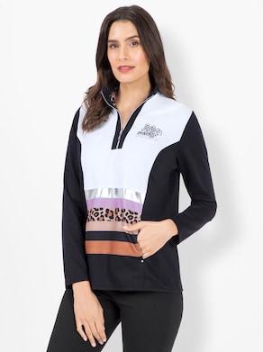 Sweatshirt - schwarz-weiß-gemustert