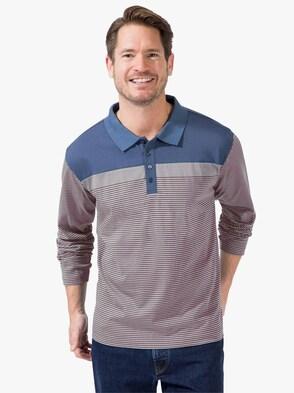 Langarm-Shirt - blau-rot