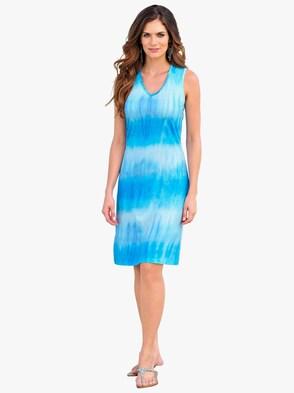 Sommerkleid - blau-bedruckt