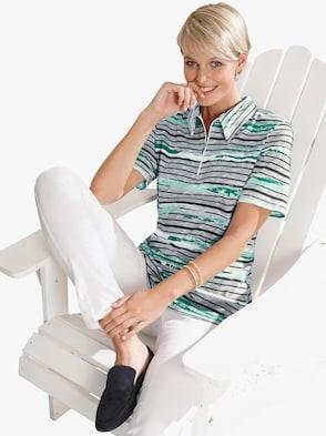 Poloshirt - mint-grau-geringelt