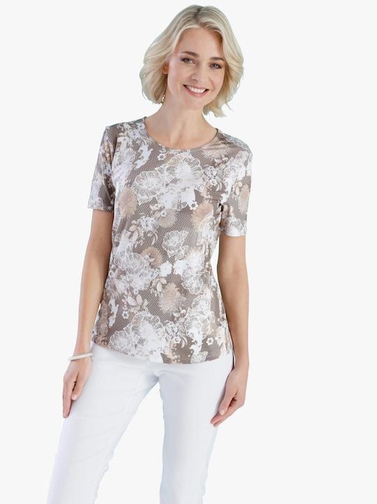 Shirt - taupe/ecru geprint