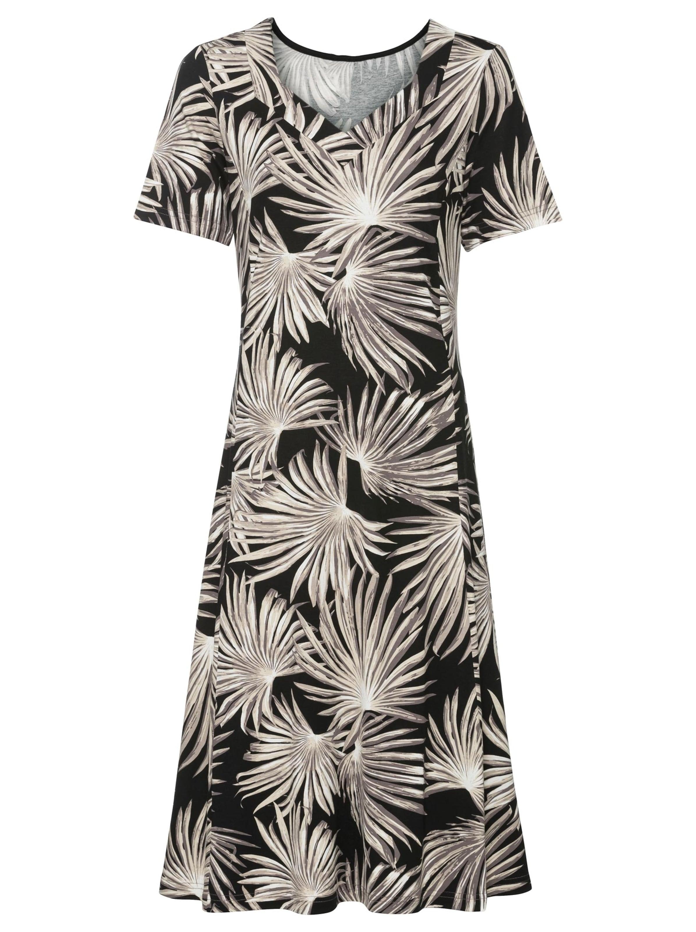 witt weiden -  Damen Jersey-Kleid schwarz-sesam-bedruckt