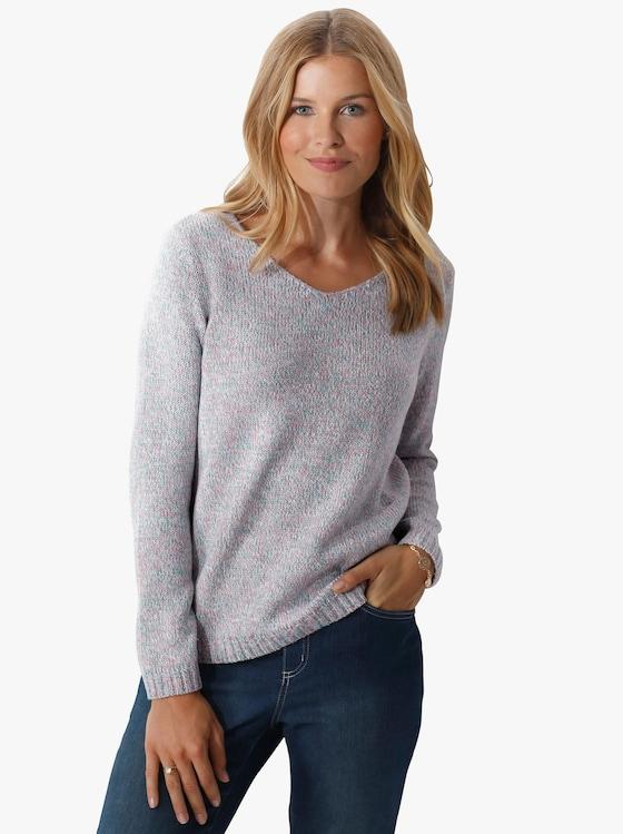 Pullover - aqua/roze gemêleerd