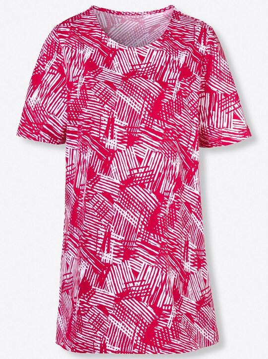 Longshirt - rot-gemustert