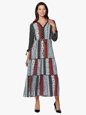 Kleid - bleu-rot-bedruckt