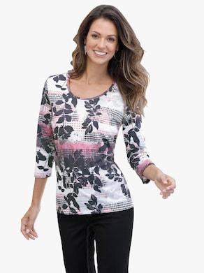 Shirt - rosé-grau-gemustert