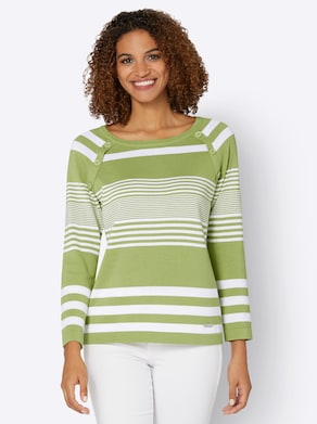 Collection L Pullover - kiwi/wit gestreept