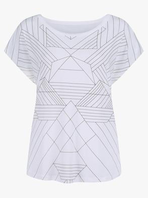 Shirt - weiß-grau-bedruckt