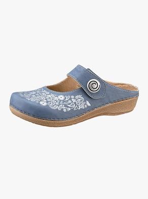 Franken Schuhe Pantofle - džínová modrá