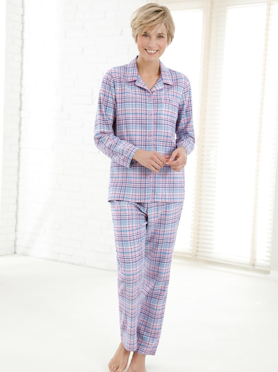 wäschepur Pyjama - blau-rosa-kariert