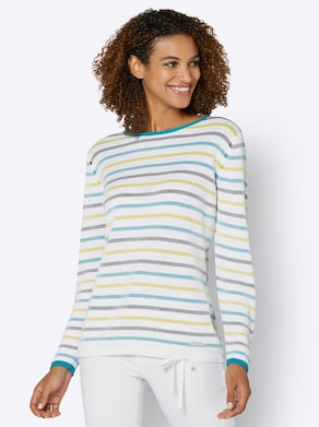 Collection L Pullover - limoen/turquoise gestreept