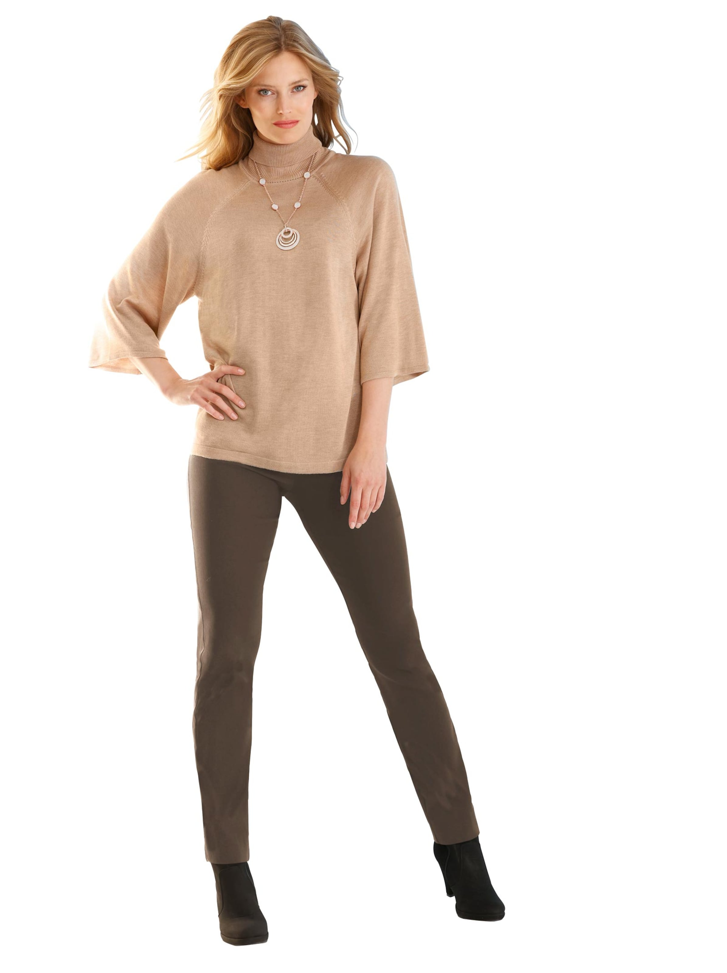 ashley brooke - Damen Rollkragen-Pullover camel-melange