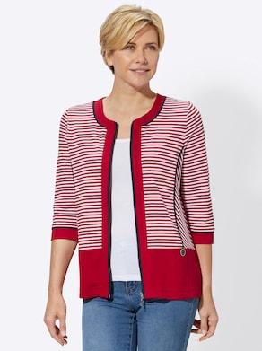 Shirtjacke - rot-geringelt