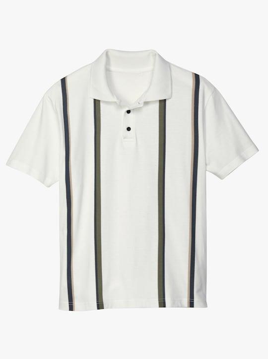 Poloshirt - ecru-gestreift
