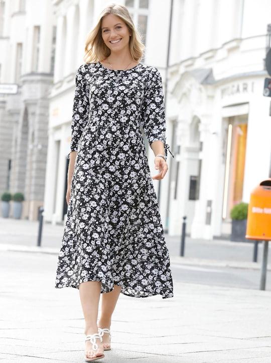 Druck-Kleid - schwarz-ecru-bedruckt