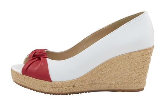 heine Peeptoe - wit/rood