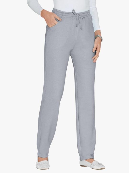Žerzejové kalhoty - šedá-melír