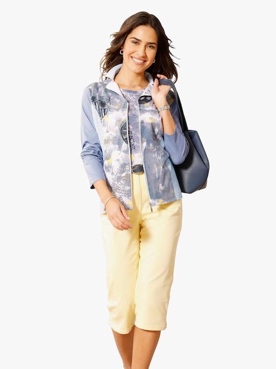 Shirtjasje - jeansblauw/citroen gedessineerd