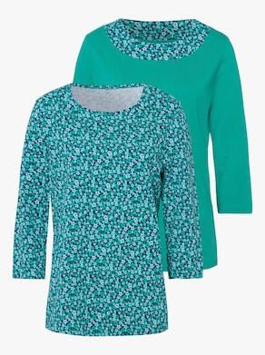 Doppelpack Shirts - smaragd + smaragd-bedruckt