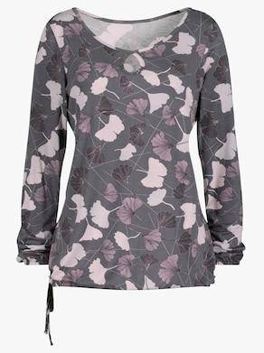 Shirt - hellgrau-mauve-bedruckt