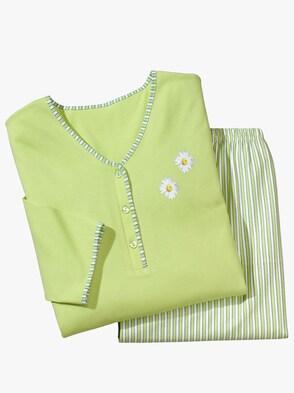 Schlafanzug - grün-gestreift