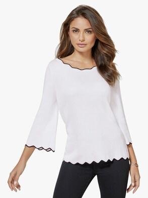 Pullover - weiß-schwarz