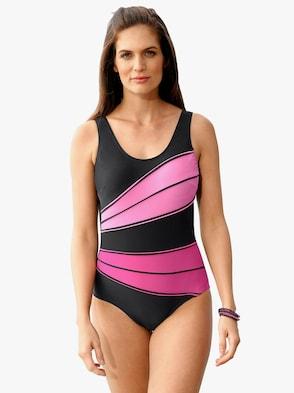 Badeanzug - schwarz-pink