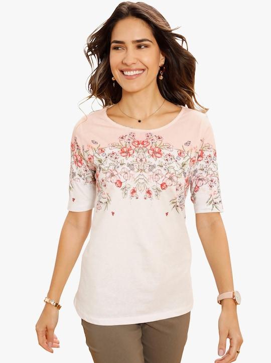 Shirt - wit gedessineerd