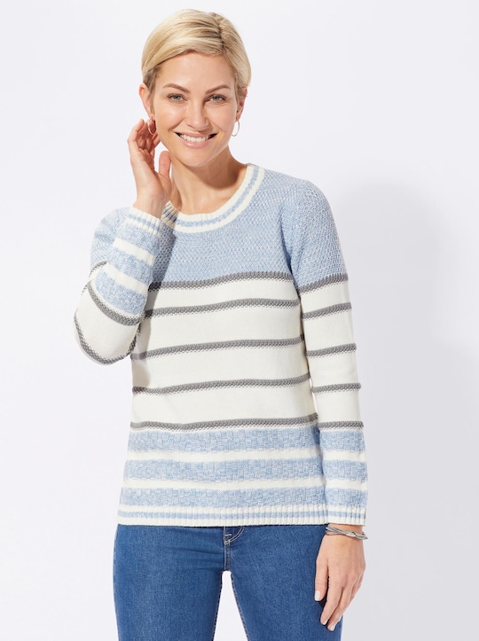 Collection L Pullover - bleu-geringelt