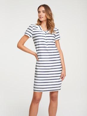 Linea Tesini Leinen-Kleid - hellgrau-weiß