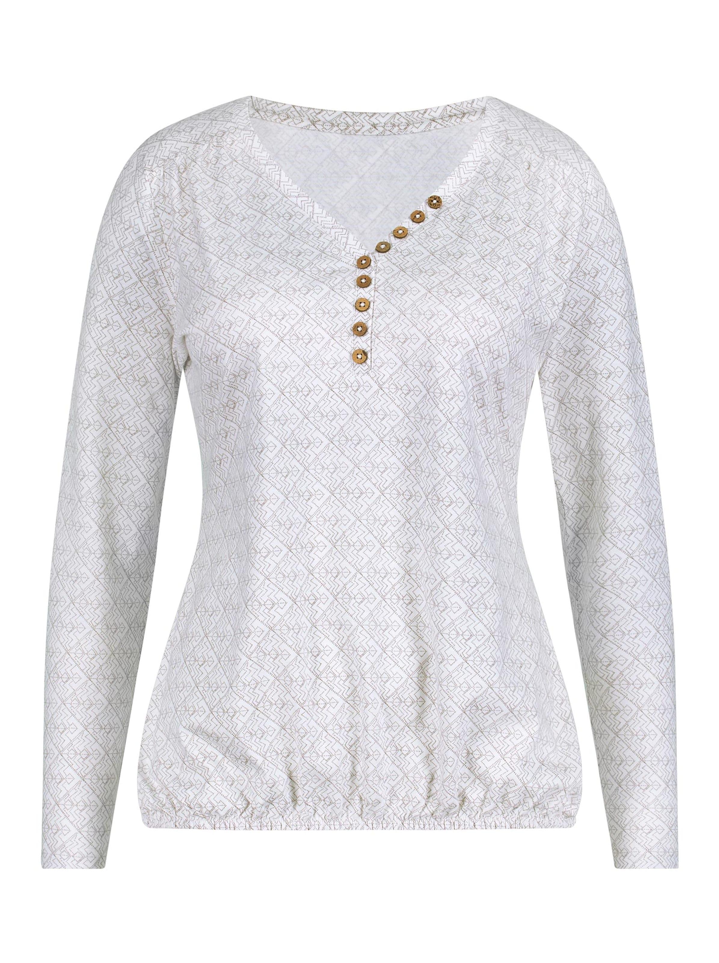 witt weiden -  Damen Shirt ecru-dunkeltaupe-bedruckt