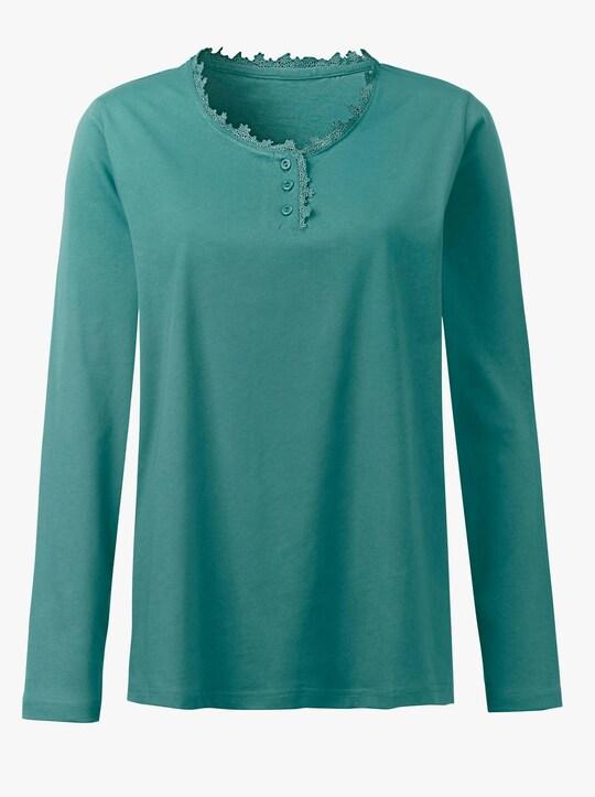 wäschepur Schlafanzug-Shirt - smaragdgrün
