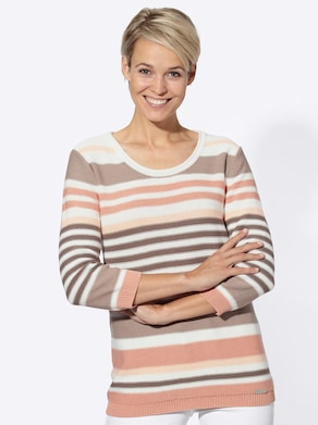 Collection L Pullover - taupe-weiß-gestreift
