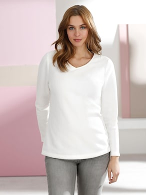 Fleece-Shirt - wollweiß